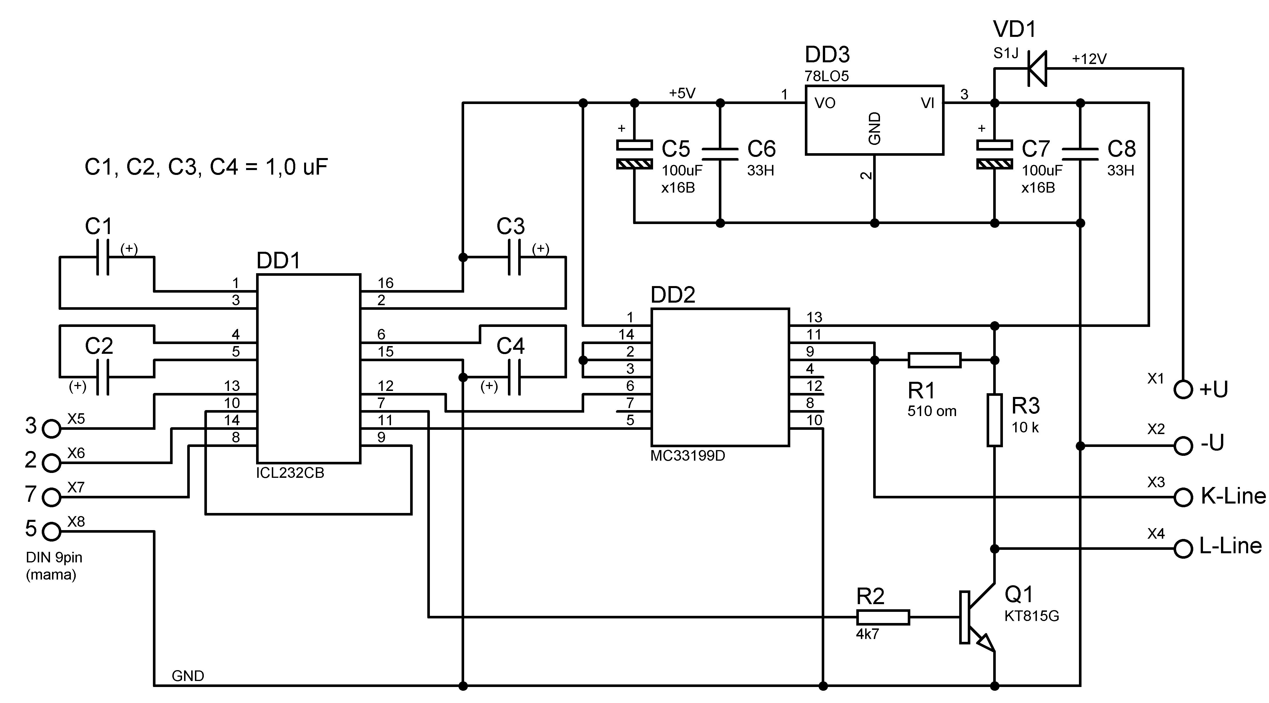 Схема адаптера для подключений компьютера