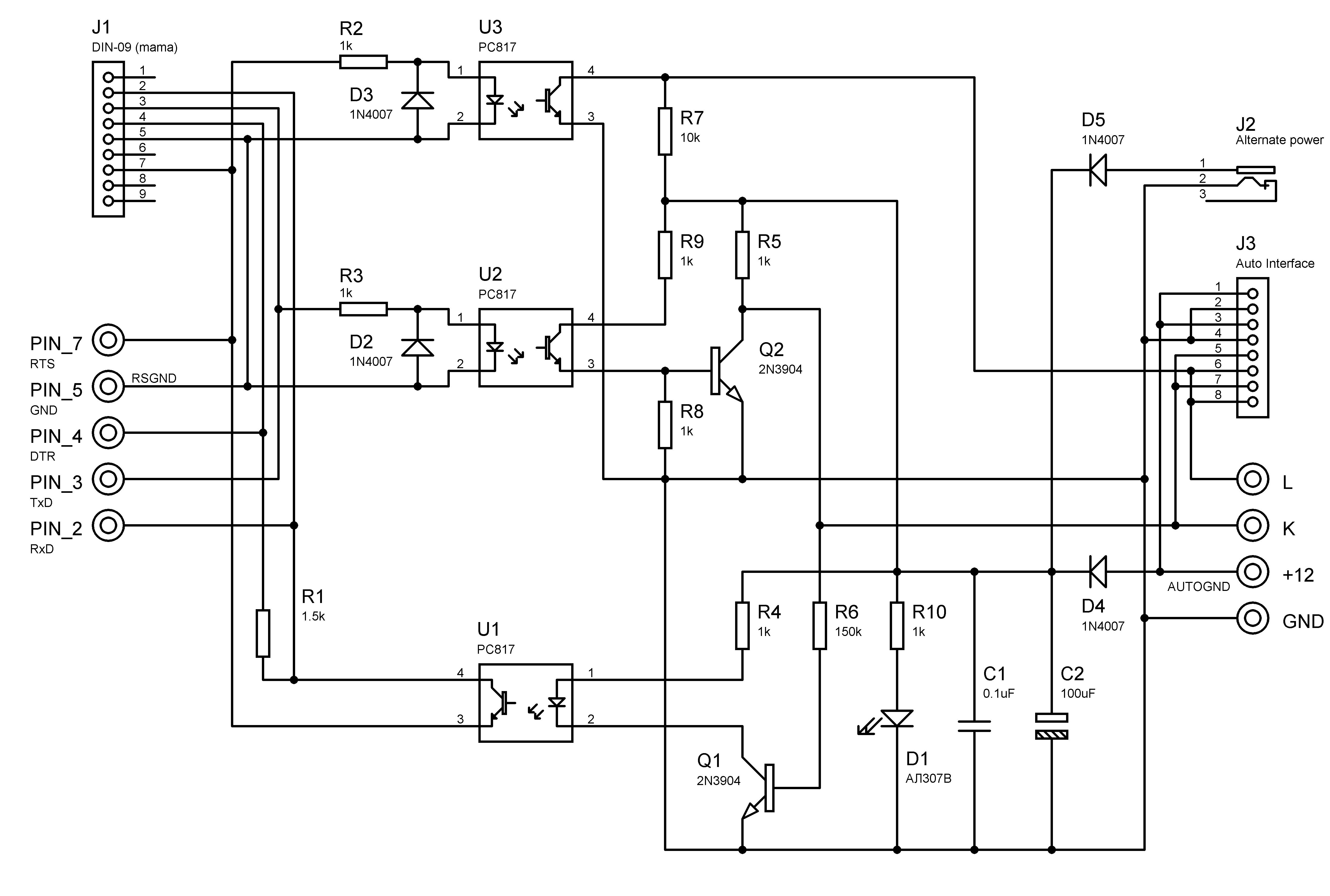 схема адаптера для прикуривателя